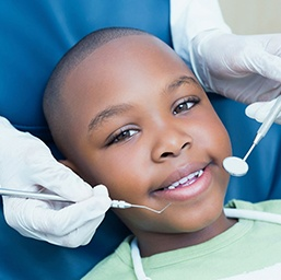 little boy in dental chair about to receive dental sealants in Hoover